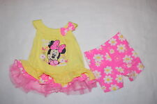 Baby Girls MINNIE MOUSE OH SO CUTE Hot Pink Yellow RUFFLE TOP Knit Shorts 0-3 MO