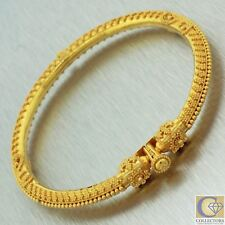 Vintage Estate 22k Solid Yellow Gold 916 Fancy Floral Bangle Screw Bracelet