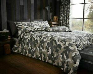 Camouflage Green Army Style Luxurious Duvet Cover Bedding Set Single Double King