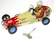 "TIN PLATE CHAMPION RACER WIND UP COLLECTIBLE RACING CAR LARGE QUALITY 21cm 8"" ."
