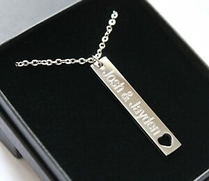 Personalised Bar Necklace Engraved Jewellery Womens Jewellery Birthday Gifts