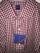 NWT! Mercer Blue Mens Dress Shirt Size L Maroon Gingham Plaid Long Sleeve $175
