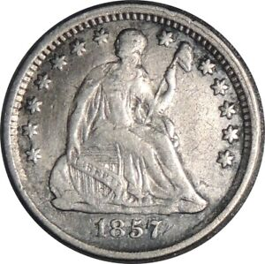 1857-P H10C SEATED SILVER HALF DIME F/VF DETAILS CLEANED SLIGHTLY BENT 041521053