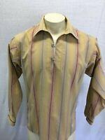 Patagonia Beige Striped 1/2 Button Front Long Sleeve Shirt Sz S Organic Cotton