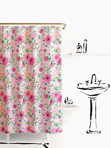"""Kate Spade New York Dahlia Floral Heavy Cotton Shower Curtain 72""""x72"""" Hot Pink"""