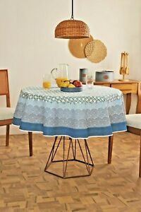 White and Blue printed tablecloth  w/ wave pattern bold border - Square, Round