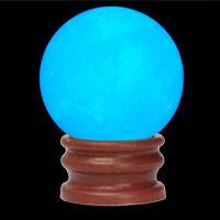 Delicate Glow In Dark Quartz Crystal Sphere Ball Blue Luminous 3.5cm + BASE