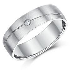 9ct White Gold Diamond Ring 6mm Designed Set Wedding Ring
