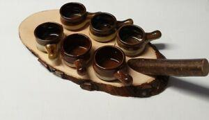 Schnapsbrett mit Keramikpfännchen, 6er, Holz mit Rinde, Party, Winter, Camping