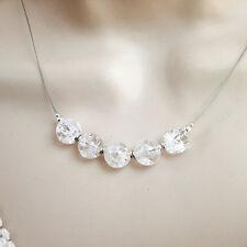 Pure BERGKRISTALL KETTE 925 Silber Halskette schlicht weiß Sterlingsilber f249