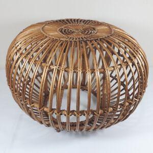 Retro Franco Albini 'Lobster Pot' Cane Stool Pouffe Table Ottoman. 1960s? VGC.