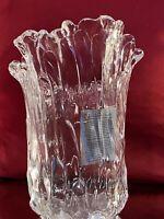 Adam Jablonski SIGNED Hand Blown Large  Art Glass Crystal Sculptural Wave Vase