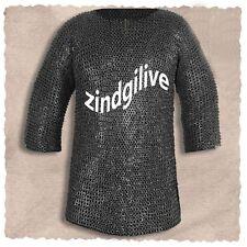 Half sleeve Chiain mail shirt 9 mm ID, WEDGE RIVETED FLAT RINGS, Medium Size