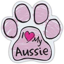 Pink Scribble Paws: I LOVE MY AUSSIE (AUSTRALIAN SHEPHERD)   Dog Paw Car Magnets
