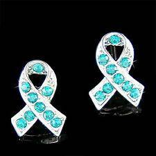 Teal Blue w Swarovski Crystal ~Ovarian Cervical Cancer Awareness Ribbon Earrings