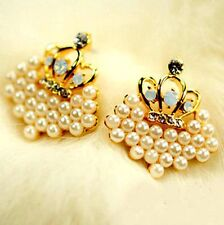 Gold crown and white simulated pearl cluster stud earrings with crystal