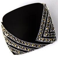 Elegant women Black Agate &Marcasite 925 Sterling Silver Square Pendant