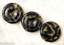 "3 Huge ANTIQUE Vintage CELLULOID & Metal Coat Buttons 2.25"" TORTOISE SHELL!"