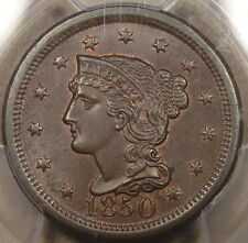 1850 Braided Hair Large Cent PCGS MS65 BN