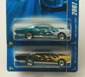 Hot Wheels 1967 Pontiac GTO 2007 All Stars Black with Flames & Teal W/Flames Lot