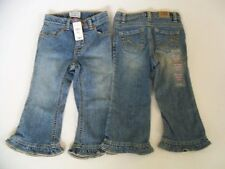 Lot 2 NEW Toddler Girls Childrens Place Denim Ruffled Jeans Both Sz 24 Mo