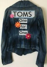 FORNARINA WOMAN'S DENIM JACKET EMBROIDERED TOMS ONE FOR ONE FLOWER CHILD BOHO