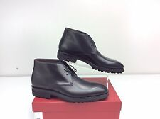 Salvatore Ferragamo Gustavo Nero Calf Black Leather Chukka Boots Men's 11 D
