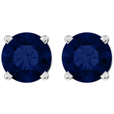 1.20Ct. Created 5mm Round Sapphire 14K WG Stud Earrings
