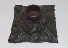 Vintage 20s Art Deco/Arts &Crafts Cast Iron Holly Christmas Candle Holder rare