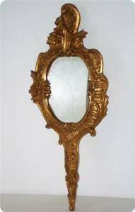 VTG GOLD GILT FLORENTINE ITALY CARVED WOOD WALL MIRROR HOLLYWOOD REGENCY