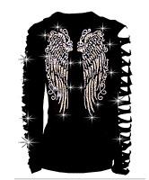 Bling Bling Angel Wings RHINESTONES Shirt Ripped Cut Out Wings Back Long S~4X
