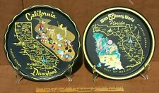 Vintage Disneyland California & Walt Disney World Florida Tin Tray Set of 2