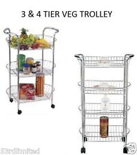 Stella 3 & 4 tier Chrome Kitchen Trolley on wheels Vegetable basket rolling cart