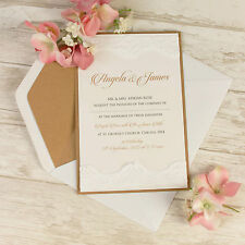 Vintage White Lace Rustic Chic Wedding Invitation Personalized Sample