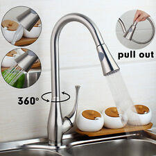 RE Pull Out Spray Swivel Spout Brushed Nickel Kitchen Sink Faucet One Handle Tap