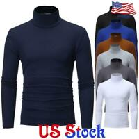 Men Long Sleeve Pullover High Neck Turtleneck Slim Basic T Shirt Top Blouse USA