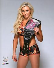 WWE PHOTO CHARLOTTE WITH DIVAS TITLE WRESTLING CHAMPIONSHIP BELT
