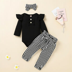 Newborn Infant Baby Girls Ribbed Romper Tops+ Striped Pants Headband Outfits Set