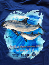 New Guy Harvey SeaWorld Save the Vaquita Porpoise Fishing T-Shirt Blue Xl v-Neck