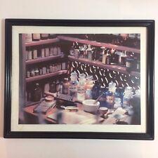 "Vintage Framed Picture of Pharmacy Glass Bottles With Mortar & Pestle Scene 15"""