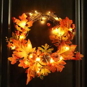 Autumn Maple Leaf Wreath Pumpkin Garland Halloween Fall Door Window Xmas Decor