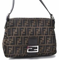 Auth FENDI Zucca Mamma Baguette Shoulder Hand Bag Canvas Leather Brown C3824
