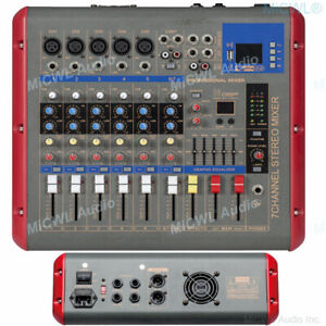 Pro 7 Channel Power Mixer 1200 Watts Amplifier Microphone Mixing Console DSP EQ