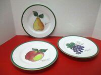 """Crate & Barrel Green & Gold Trimmed Fruit 8 1/4"""" Dessert / Salad Plates (3)"""
