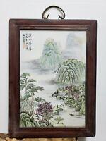 Fine Old Chinese Porcelain Famille  Rose Plaque{ Landscape}