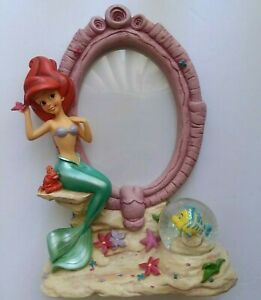 Disney Princess Little Mermaid Ariel Snow Globe with Flounder Picture Frame USED