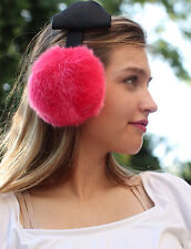 Kate Spade Black Satin Bow Headband Earmuffs Faux Fur FLUFFY HUGE PINK EAR MUFF