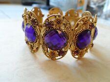 Breathtaking Gold Purple Rhinestone Flower Wide Cuff Bracelet 33.8 Grams