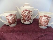 California Pantry 2002 Rooster and Hen Country Teapot and 2Mugs Ceramic Set