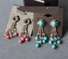 Boucles d`Oreilles CLIP ON Doré Perle de Quartz Rose Tassel Chic Elegant B4
